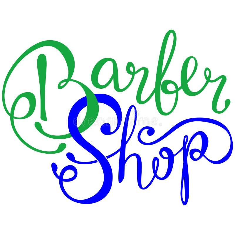 书面的理发店手在商标,徽章,标签上写字 设计商标模板 在白色背景的葡萄酒象征 库存例证