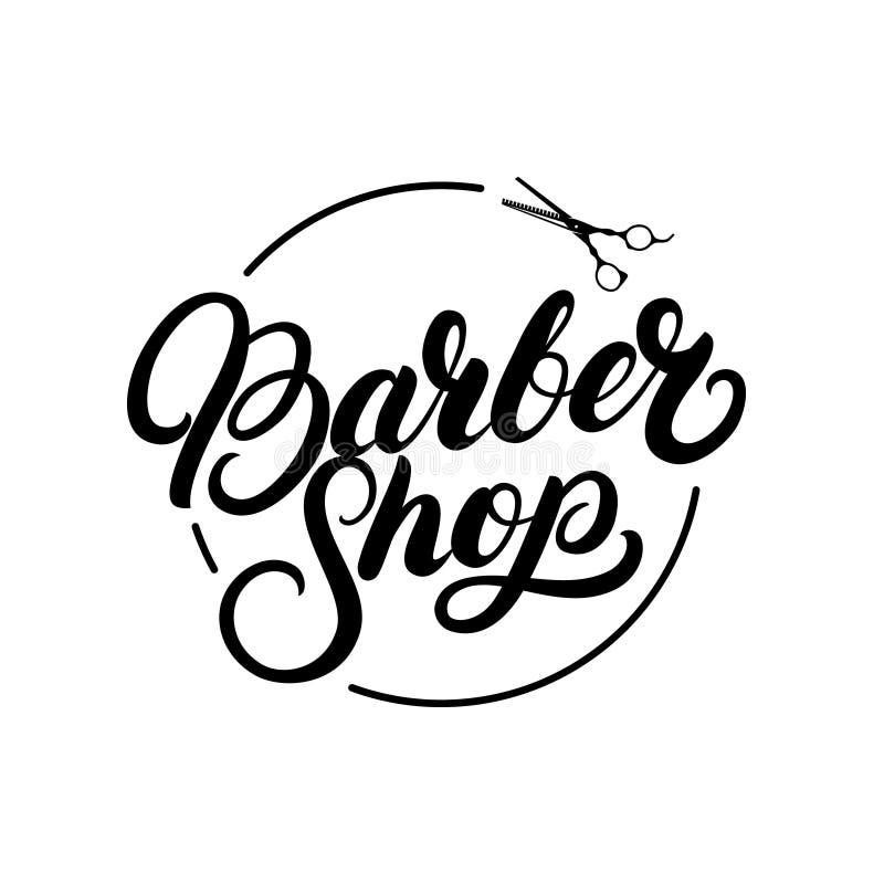 书面的理发店手在商标,标签,徽章,象征上写字 向量例证