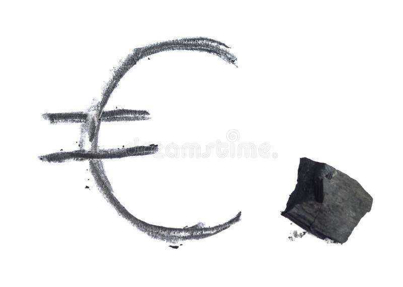 书面的采煤欧元 免版税库存图片