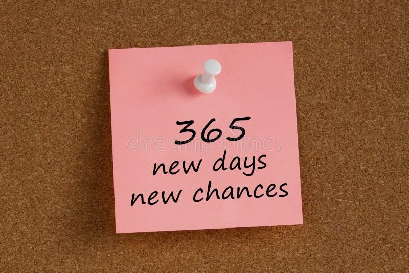 书面的365个新的天新的机会记住笔记 库存图片