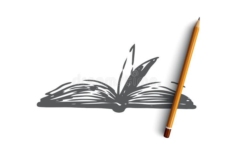 书,开放,纸,文学,知识概念 手拉的被隔绝的传染媒介 皇族释放例证