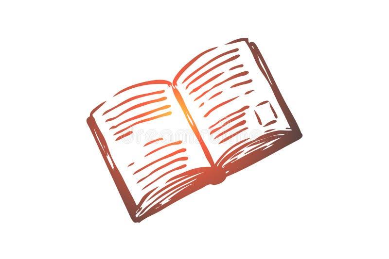 书,开放,纸,文学,知识概念 手拉的被隔绝的传染媒介 库存例证