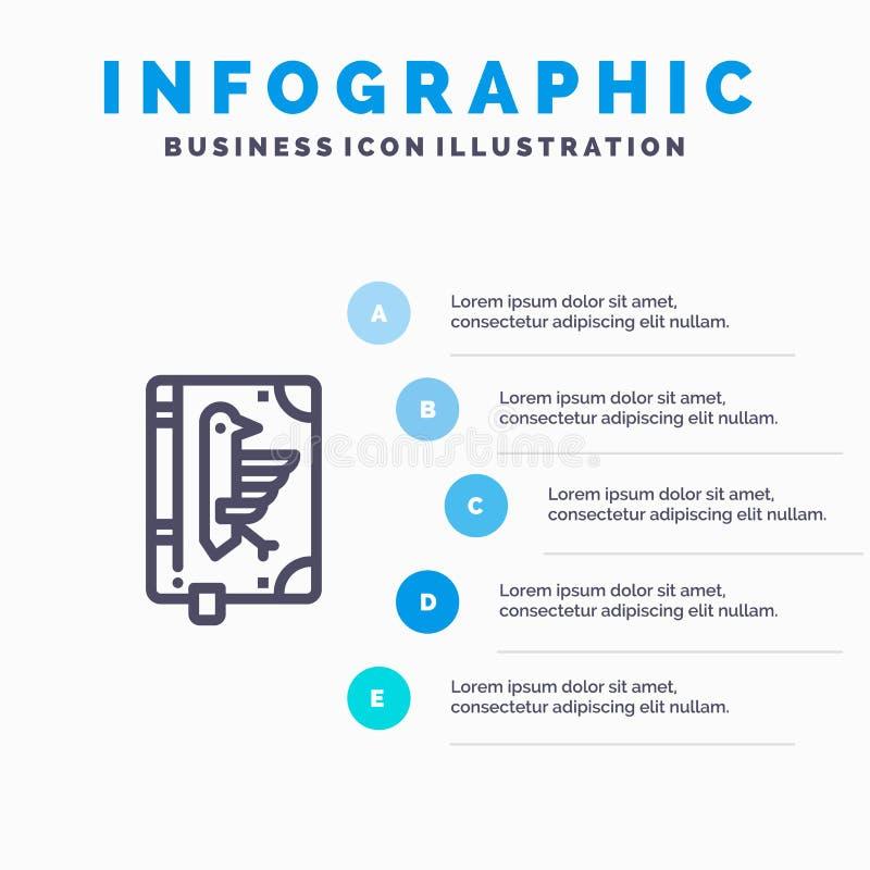 书,抄本,宪法,声明,法令线象有5步介绍infographics背景 库存例证