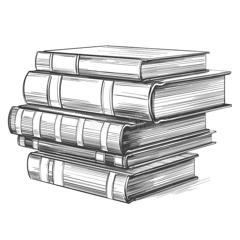 书,教育葡萄酒集合手拉的传染媒介例证 向量例证
