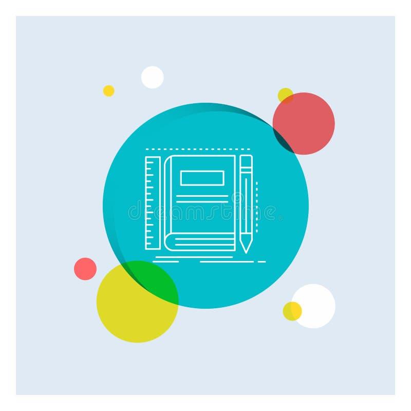 书,笔记本,笔记薄,口袋,速写空白线路象五颜六色的圈子背景 向量例证