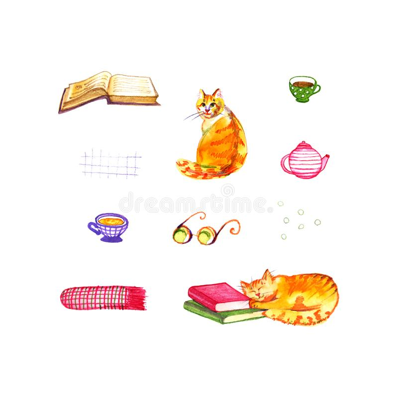 书,茶,猫 与茶的书架和睡觉猫 逗人喜爱的水彩例证 向量例证