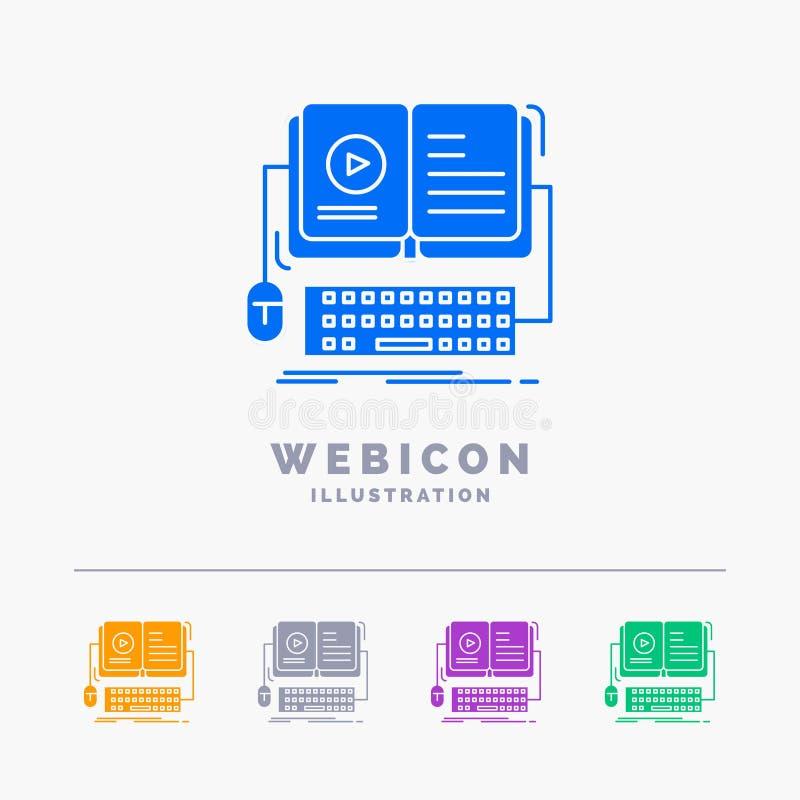 书,ebook,在白色隔绝的交互式,流动,录影5种颜色纵的沟纹网象模板 r 库存例证