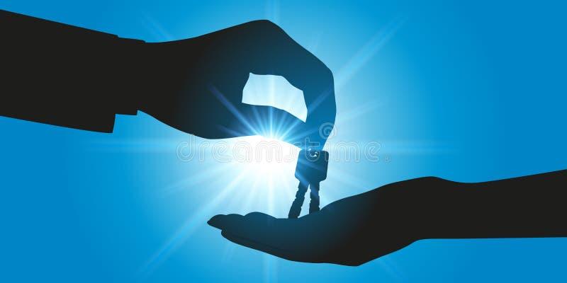 买一个房子或一辆汽车的概念有给钥匙的某人的新所有者 库存例证
