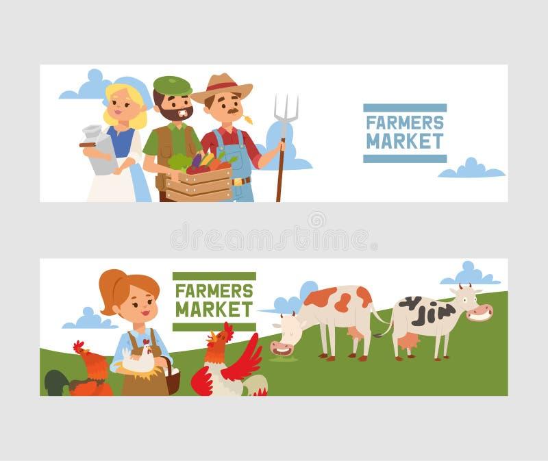 买从农厂市场传染媒介横幅例证的人们新鲜的地方菜 牛奶农厂商店飞行物 r 皇族释放例证