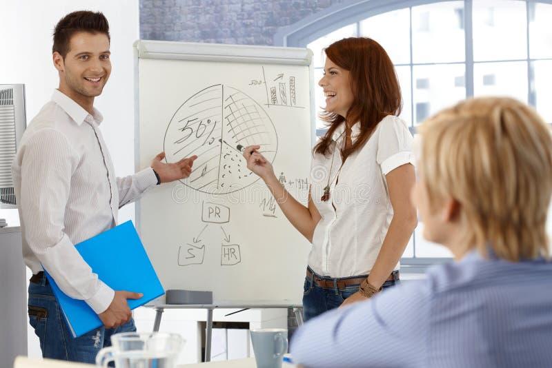 买卖人与whiteboard一起使用 免版税库存照片