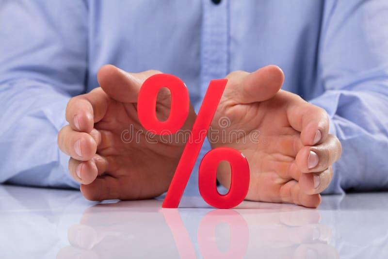 买卖人保护的百分率符号 库存照片