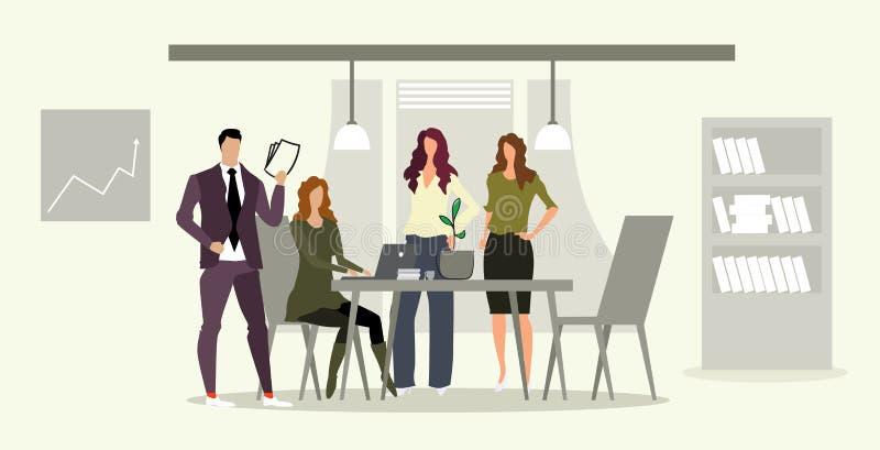 买卖人合作与母上司在工作场所群策群力的商人谈论新的项目在见面期间 库存例证