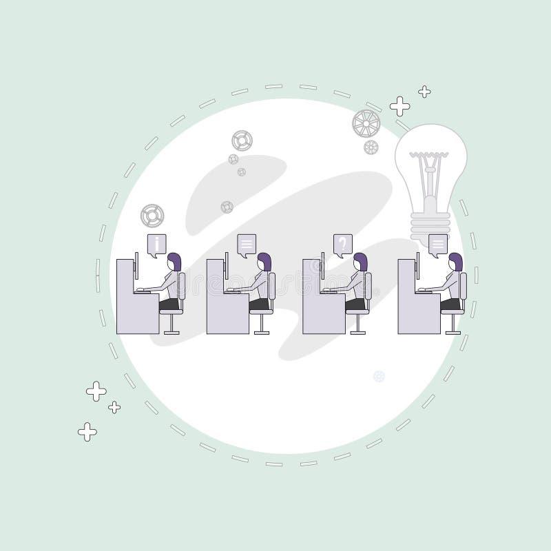 买卖人编组运作的创造性的队商人坐的办公桌概念 向量例证