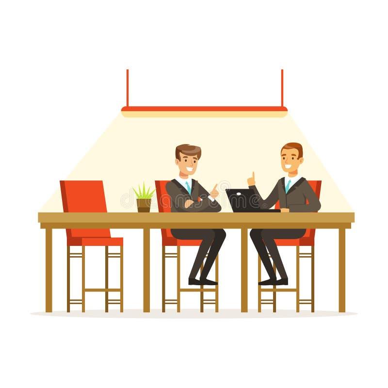 买卖人谈论想法在露天场所办公室, coworking的人民导航例证 向量例证
