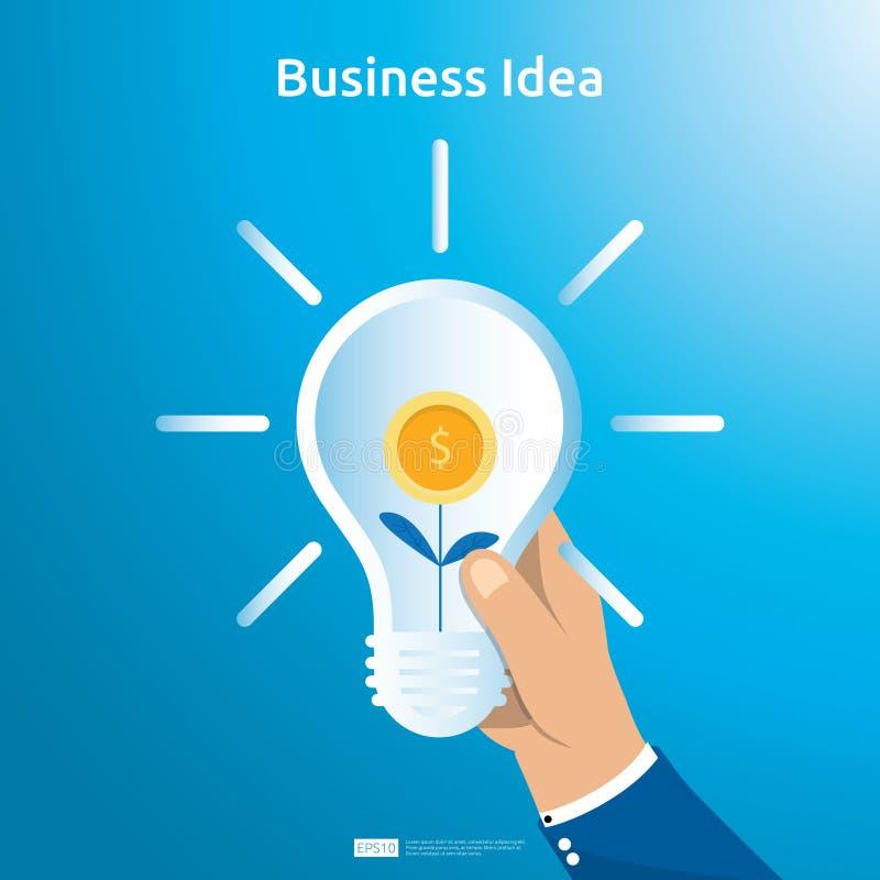 买卖企业想法的交易与手举行电灯泡美元硬币袋子和增长的植物对象的 财政创新 向量例证