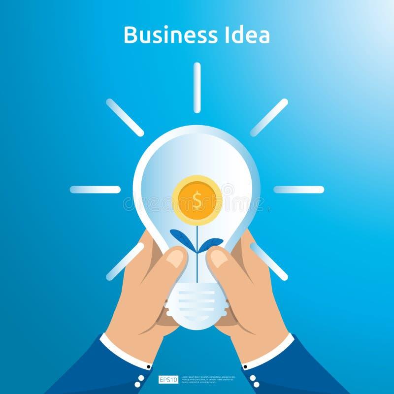 买卖企业想法的交易与手举行电灯泡美元硬币袋子和增长的植物对象的 财政创新 皇族释放例证
