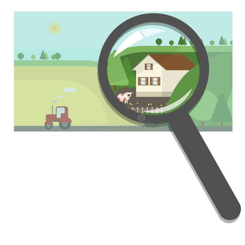 买卖房地产,房地产机构 农场和cou 库存例证