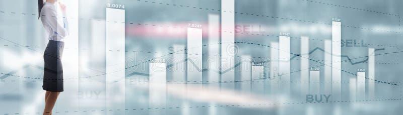 买卖finacial概念 企业图表股票市场图 数字图和屏幕接口 r 库存图片