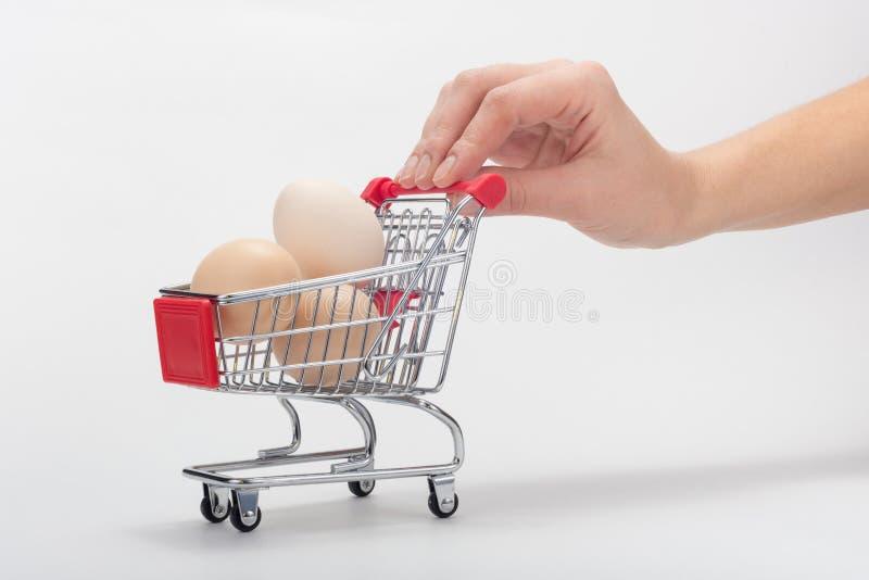 买家的手提式一个杂货推车用鸡鸡蛋 图库摄影