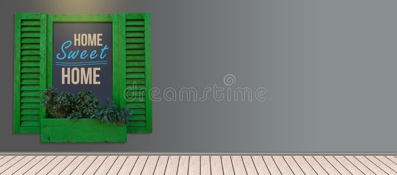 买您的梦想家庭横幅与拷贝空间的木横幅 库存图片