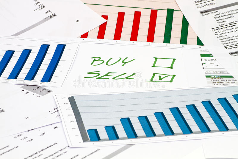 买或卖在图 免版税库存照片