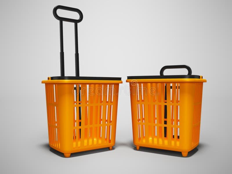 买的橙色塑料两个篮子在超级市场3d回报在与阴影的灰色背景 向量例证
