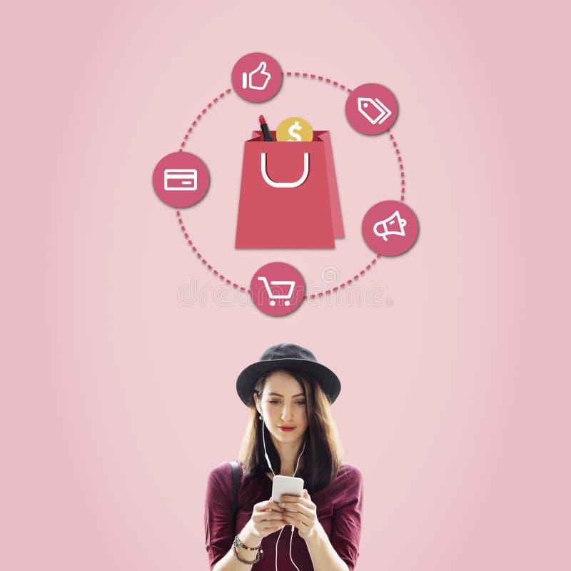 买的消费者至上主义折扣商品推销购物概念 库存照片