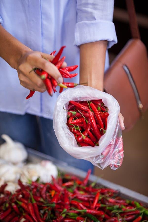 买红色辣椒的妇女 免版税库存照片