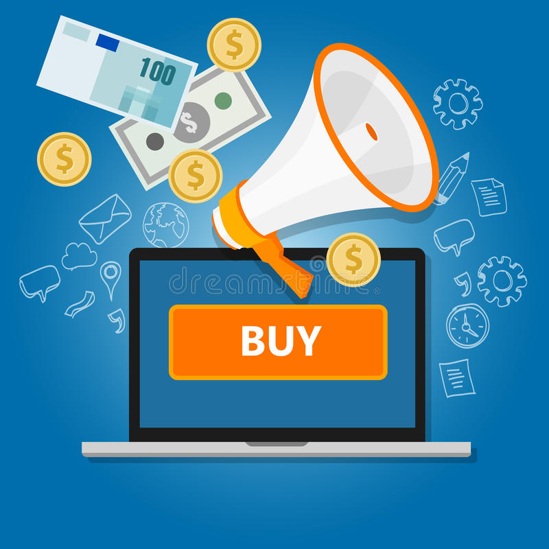 买网上交易金钱商务互联网销售的付款点击 皇族释放例证