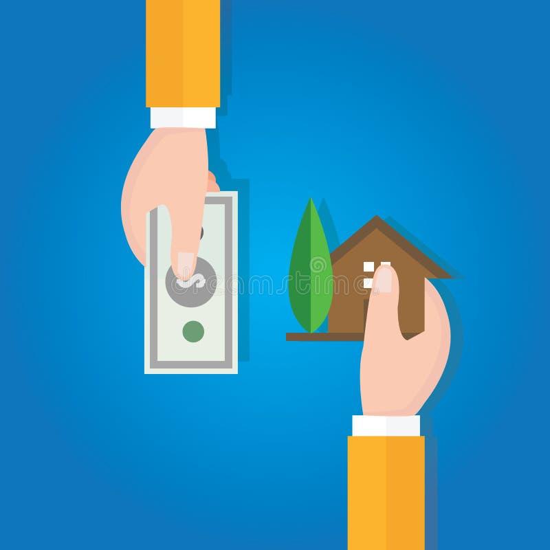 买进卖出家庭房产价格手交易 向量例证