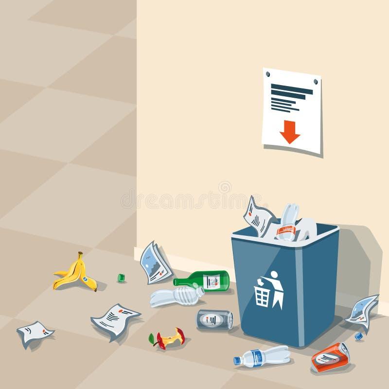 乱丢在垃圾桶附近的垃圾 库存例证