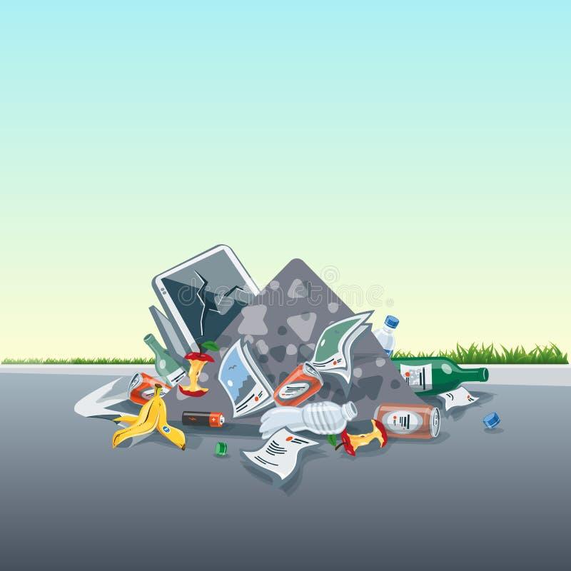 乱丢垃圾在街道路的垃圾堆 向量例证