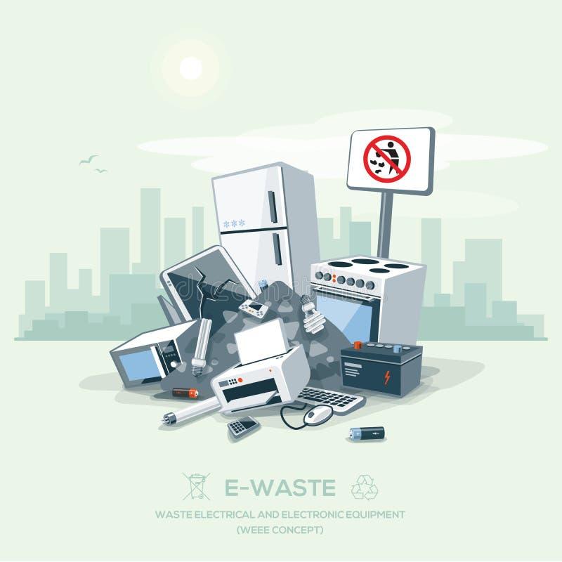 乱丢垃圾在街道路的E废物堆 向量例证