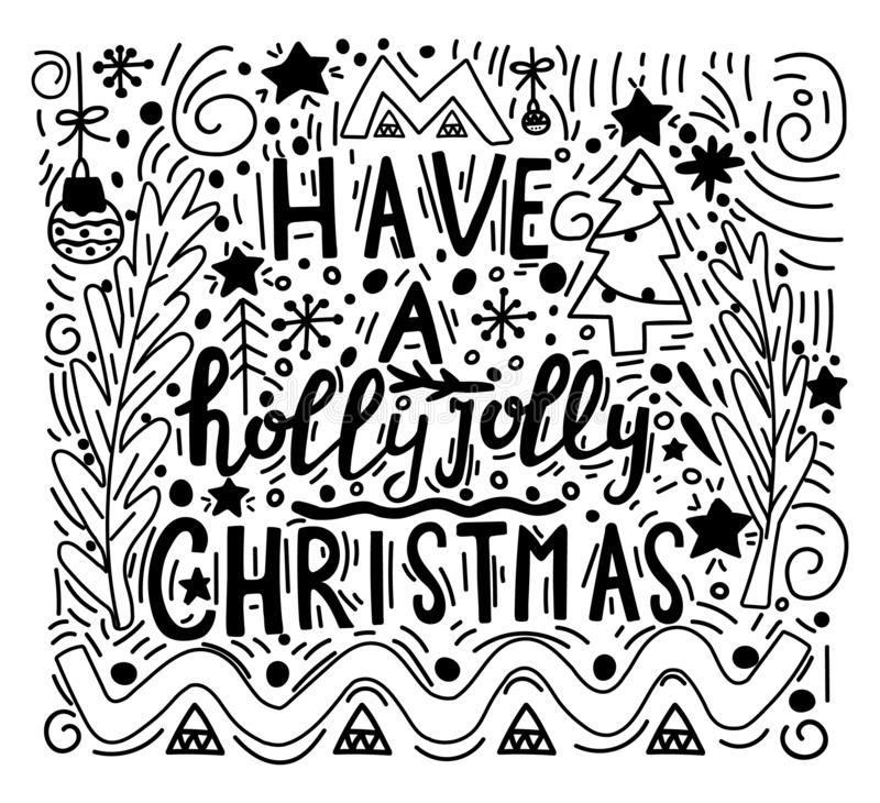乱画与圣诞快乐标志的样式例证 书法词组有霍莉快活的圣诞节 现代 皇族释放例证