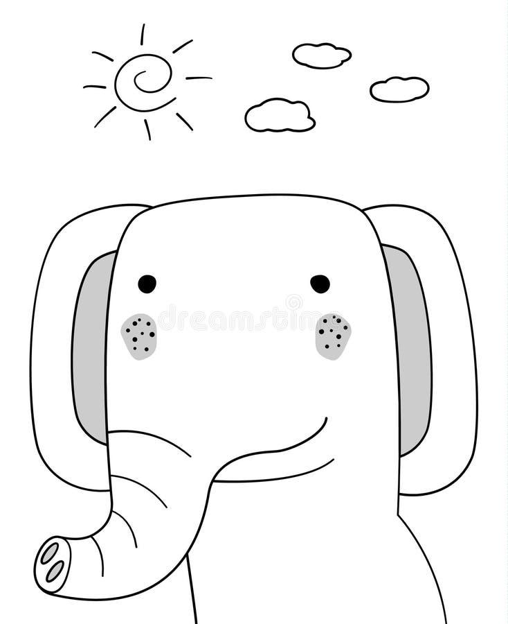 乱画与太阳的剪影大象并且覆盖例证 动画片传染媒介 乱画样式 野生哺乳动物的动物 奶油被装载的饼干 明信片 向量例证