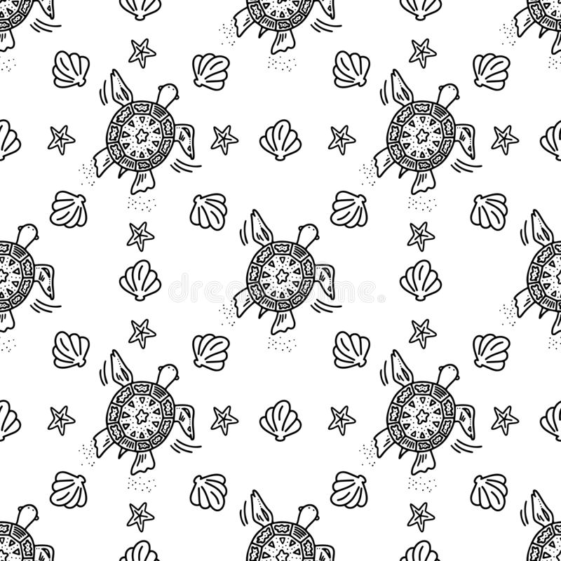 乱画与黑乌龟的样式无缝的样式 皇族释放例证