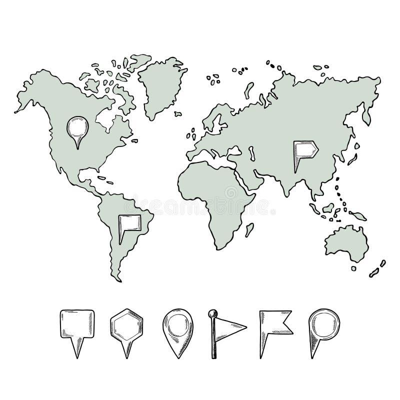 乱画世界地图的例证与手拉的别针的 传染媒介图片孤立 向量例证