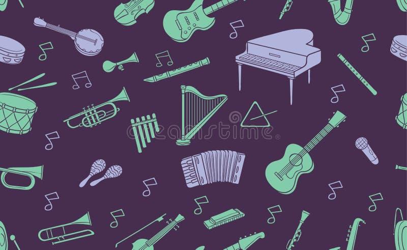 乱画乐器的无缝的样式在淡色的 库存例证