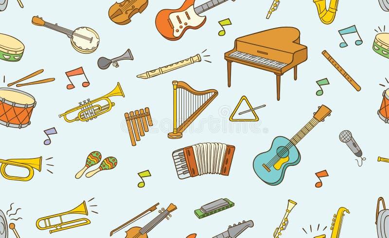 乱画乐器的无缝的样式在颜色的 向量例证