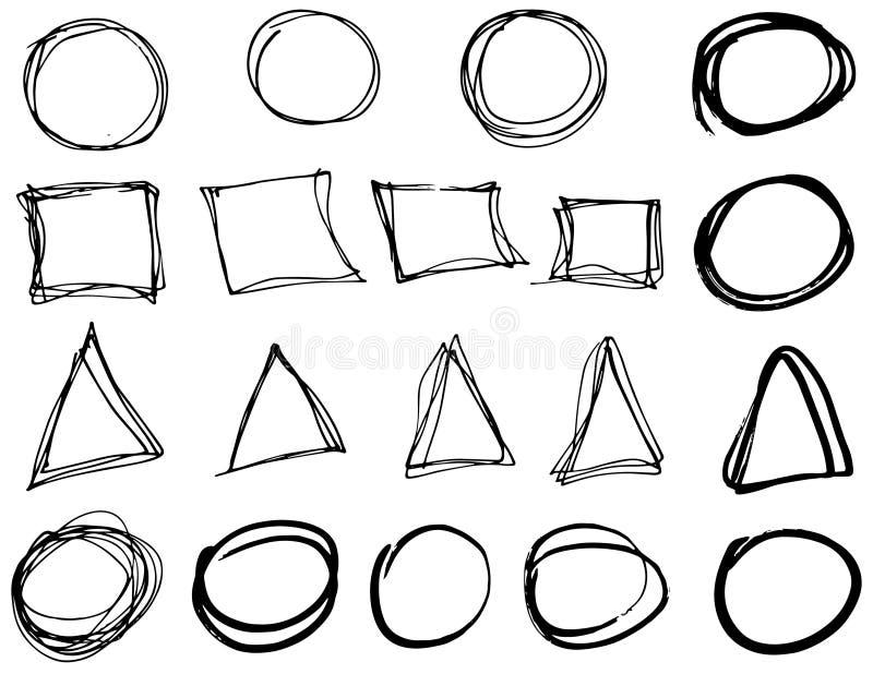 乱画传染媒介圈子、三角和长方形 手拉的集合,动画片样式 向量例证