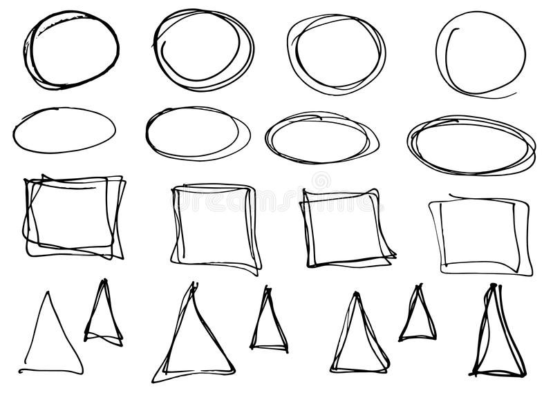 乱画传染媒介圈子、三角和长方形 手拉的集合,动画片样式 皇族释放例证