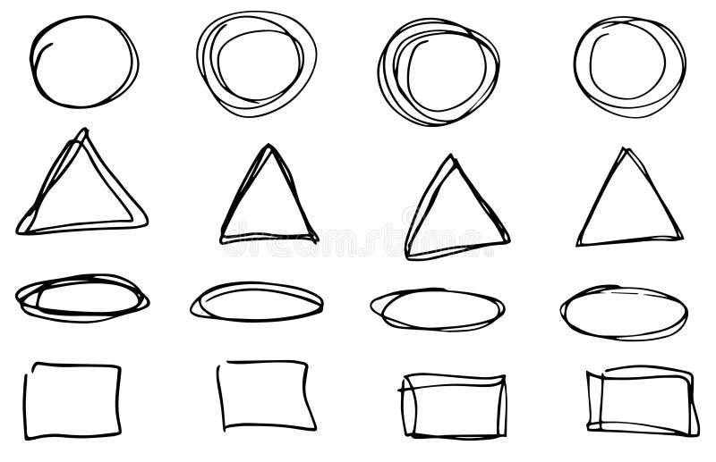 乱画传染媒介圈子、三角和长方形 手拉的集合,动画片样式 库存例证