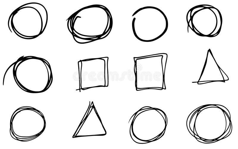 乱画传染媒介圈子、长方形和三角 手拉的集合,动画片样式 库存例证