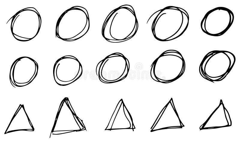 乱画传染媒介圈子和三角 手拉的集合,动画片样式 皇族释放例证