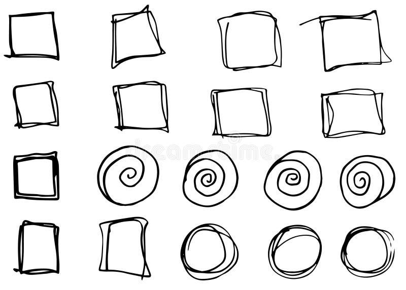 乱画传染媒介圈子和长方形 手拉的集合,动画片样式 库存例证