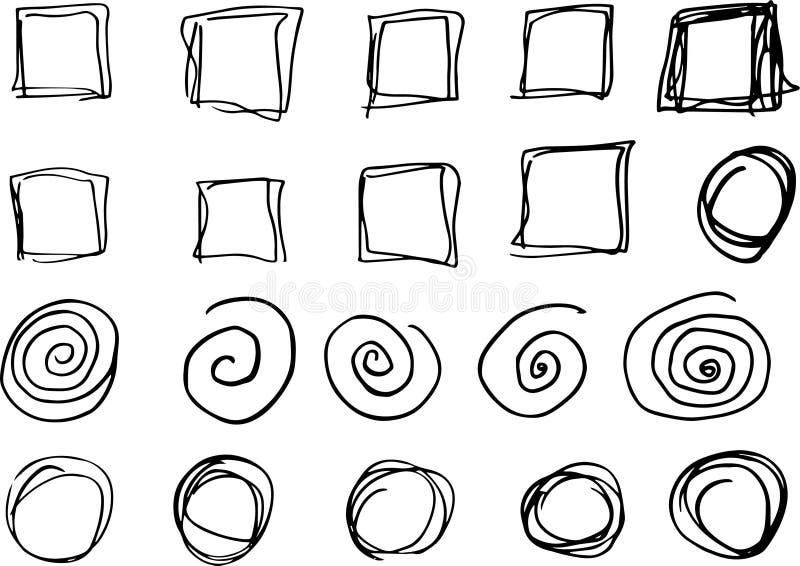 乱画传染媒介圈子和长方形 手拉的集合,动画片样式 皇族释放例证