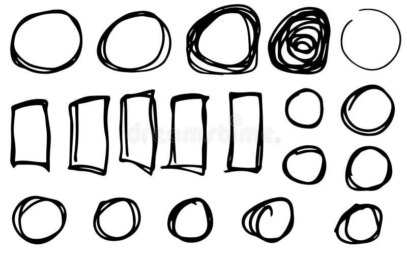 乱画传染媒介圈子,长方形 手拉的集合,动画片样式 库存例证