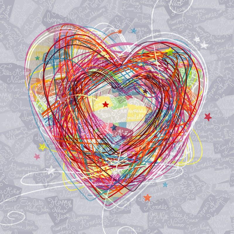 乱画在新年快乐背景的心脏标志 库存例证