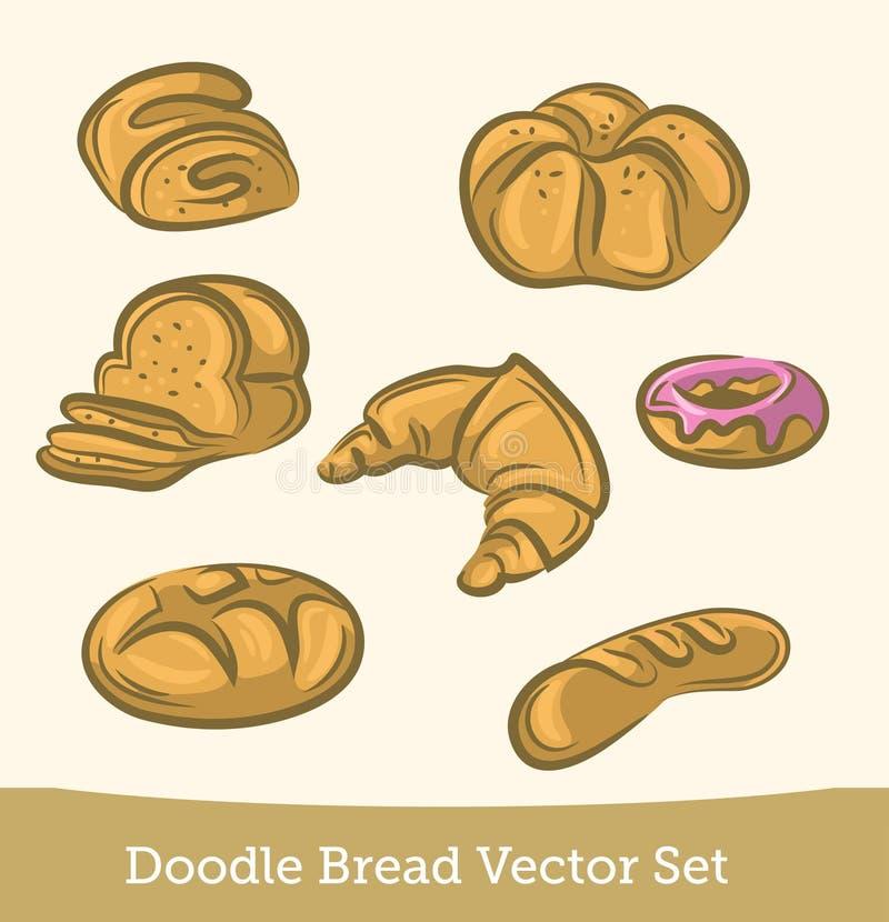 乱画在白色背景隔绝的面包集合 ?? 向量例证