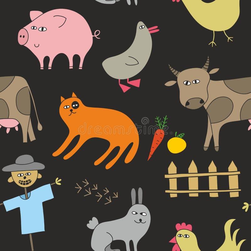 乱画在黑暗的背景无缝的样式的样式动物childrn的 库存例证